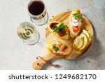 italian antipasti snacks set... | Shutterstock . vector #1249682170