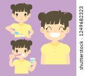 brushing teeth activities... | Shutterstock .eps vector #1249682323