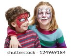young boy and girl with face... | Shutterstock . vector #124969184