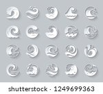 wave paper cut art icons set.... | Shutterstock .eps vector #1249699363