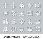 Marine Paper Cut Art Icons Set...