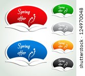 Vector spring offer labels - oval stickers - stock vector