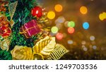 christmas tree with gift box on ... | Shutterstock . vector #1249703536