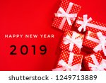 happy new year 2019 with gift... | Shutterstock . vector #1249713889