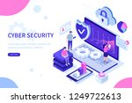 cyber security concept with... | Shutterstock .eps vector #1249722613
