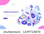 cyber security concept with... | Shutterstock .eps vector #1249723870