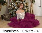beautiful brunette girl sitting ... | Shutterstock . vector #1249725016