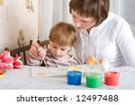 little child and mother...   Shutterstock . vector #12497488