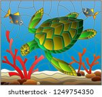illustration in stained glass... | Shutterstock .eps vector #1249754350