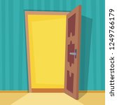 open and door. flat cartoon... | Shutterstock .eps vector #1249766179