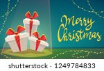 gift box with ribbon and bow  ... | Shutterstock .eps vector #1249784833