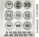 grunge anniversary rubber stamp ... | Shutterstock .eps vector #124978889