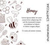honey doodle line icons cute... | Shutterstock .eps vector #1249791166