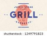 steak  logo  meat label. logo... | Shutterstock .eps vector #1249791823