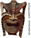 tiki tribal wooden  color mask. ... | Shutterstock .eps vector #1249799233