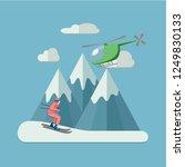 heli skiing flat illustration... | Shutterstock .eps vector #1249830133