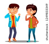 sad asian child girl  boy with... | Shutterstock .eps vector #1249833349