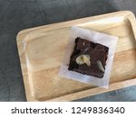 top view with chocolate brownie ... | Shutterstock . vector #1249836340