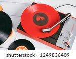 retro turntable vinyl record... | Shutterstock . vector #1249836409