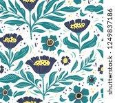 floral flat hand drawn seamless ... | Shutterstock .eps vector #1249837186