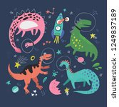 cute dinosaurs in space hand... | Shutterstock .eps vector #1249837189