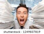 wide eyed office worker screams ... | Shutterstock . vector #1249837819