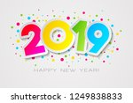 happy 2019 new year card in... | Shutterstock .eps vector #1249838833