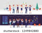 people have a christmas party... | Shutterstock .eps vector #1249842880