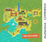 map of melbourne with shrine of ... | Shutterstock .eps vector #1249848310