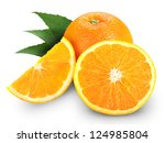 orange fruit isolated on white... | Shutterstock . vector #124985804