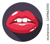 vector icon sexy red lips.... | Shutterstock .eps vector #1249863550