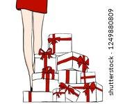 vector women in red dress. girl ... | Shutterstock .eps vector #1249880809