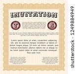 orange vintage invitation... | Shutterstock .eps vector #1249884949