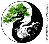 black and white bonsai tree in... | Shutterstock .eps vector #1249888573