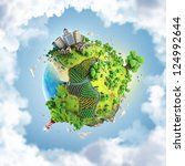 globe concept showing a green ... | Shutterstock . vector #124992644