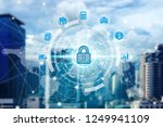 padlock icon technology with...   Shutterstock . vector #1249941109
