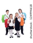Happy school kids, boys and girls with colorful bags - isolated - stock photo