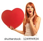 cute young woman with red heart   Shutterstock . vector #124994924