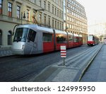 city red trams background | Shutterstock . vector #124995950