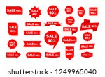 set of red sale icon banners in ... | Shutterstock .eps vector #1249965040