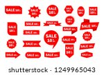 set of red sale icon banners in ... | Shutterstock .eps vector #1249965043