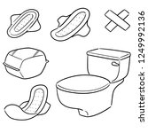 vector set of sanitary napkin | Shutterstock .eps vector #1249992136