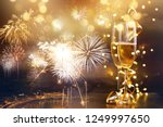 two champagne glasses with... | Shutterstock . vector #1249997650