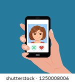 hand holding phone with girl on ... | Shutterstock .eps vector #1250008006