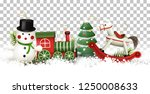 christmas border with wooden... | Shutterstock .eps vector #1250008633