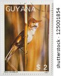 Small photo of GUYANA - CIRCA 1987: a stamp from Guyana shows image of a reed warbler (Acrocephalus scirpaceus), circa 1987