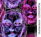 texture with women portraits in ... | Shutterstock . vector #1250020936