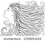 girl with streaming hair and... | Shutterstock .eps vector #1250051653