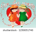 happy valentine's day. a pair... | Shutterstock .eps vector #1250051740