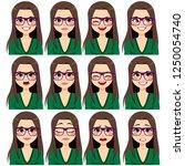 beautiful young brunette woman... | Shutterstock .eps vector #1250054740
